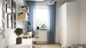 Illustration av interiör, gästrum/kontor, BoKlok-lägenhet 4 rok, 2021.