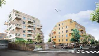 Lindbäcks bygger totalt 163 lägenheter i två etapper åt Aros Bostad i Orminge Centrum, Nacka.