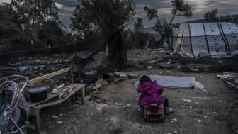 Många av barnen som Läkare Utan Gränser träffar på sin barnklinik utanför Moria plågas av mardrömmar. Foto: Anna Pantelia/Läkare Utan Gränser