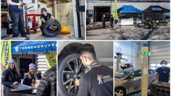 Både Yrkesgymnasiet i Umeå och i Skellefteå (längst ned till höger) körde däckbytardagar där pengarna gick till välgörande ändamål. Foto: Robert Ekblom/Thorengruppen