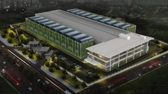 3D rendering of Polymer Connected Jakarta Barat data centre campus (June 2019)