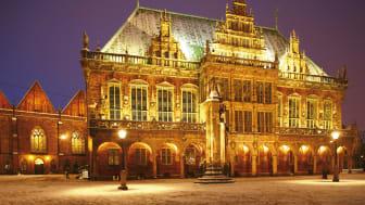 Bremen: Rathaus und Roland im Winter, abends ©DZT e.V. F: Krüger, Torsten