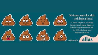 Allas.se lanserar kampanjen #skitsnack för att utmana tabun om att bajsa.