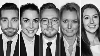 Fastighetsmäklarna Jesper Elg, Elvina Bernebring, Carl Ljunglöf, Maria Cavels och Emma Sandell är Bjurfors senaste rekryteringar i Skåne.