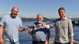 From left: Tor Kristian Gyland (Green Mountain), Alf Reime and Asbjorn Drengstig (Norwegian Lobster Farm.)