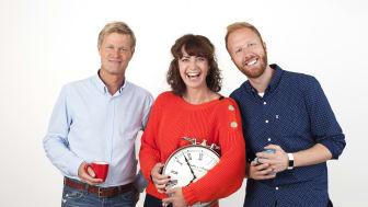 BESTE PROGRAMLEDERE PÅ RADIO: Bjørn Faarlund, Marte Kaasa Arntsen og Øystein Røe Larsen vant Prix Radio. Foto: P4