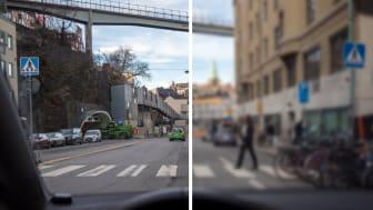 Höger sida visar en uppskattning av hur var sjätte bilist ser. De har en skärpa som är visus 0,5 eller sämre vilket innebär att de börjar se oskarpt på ca 1-2 meters avstånd. Foto: Petter Magnusson/PMAGI