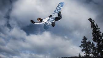 Snowboardåkaren Niklas Mattsson  i Kläppen Snow Park där JVM i freeski och snowboard ska arrangeras 7–13 april 2019. Foto: Daniel Bernstål.