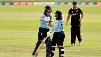 Amy Jones and Tammy Beaumont celebrate victory. Photo: Getty Images