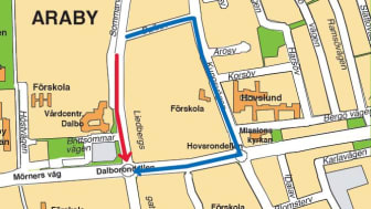 Under arbetet leds trafiken om via Dalbovägen och Kungsvägen.
