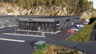 Evidensia Sørlandet Dyresykehus vil ligge rett ved E18 og ha gode parkeringsmuligheter