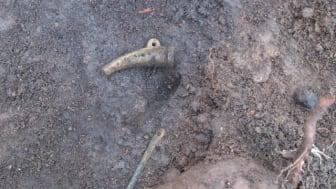 Det lilla hornet låg tillsammans med en nål och ett hänge. Kanske har de tre föremålen hängt samman på en tråd eller en rem som försvunnit