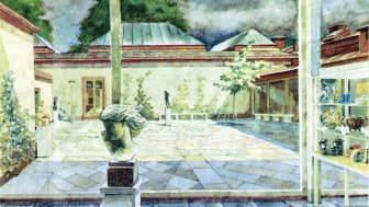 Länsmuseets atriumgård. Akvarell av Gösta Ottosson 1963.