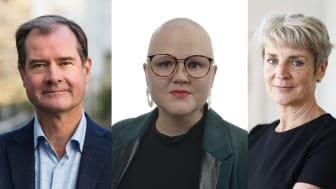 Mårten Lilja, vice vd Riksbyggen, Emma Hult (MP), ordförande i civilutskottet och Johanna Cerwall, vd för Skandiabanken.