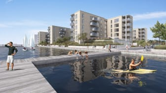 Havnefronten på Horsens Havn består af ialt 87 lejligheder med fantastisk udsigt over fjorden