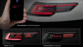 Fremtidens interaktive for- og baglygter kan kommunikere med andre trafikanter og øge trafiksikkerheden