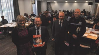 L to R: Susan Webb, director of public health NHS Grampian, Roddy Burns, CEO Moray Council, Malcolm Wright, Chair of NHS Grampian, Campbell Thomson, chief supt Police Scotland