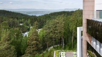 Rosenholm Campus er månedens prosjekt i februar. Byggets brukere har god tilgang til natur. Foto: Inger Marie Grini/Aspelin Ramm.
