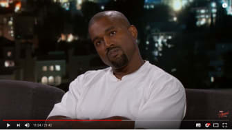 Screen grab of the critical moment when West took a while to respond to Kimmel's question on why he supported Donald Trump