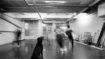 Keira sitter still och dansarna rör sig förbi tid och rum. Foto: Lesley Leslie-Spinks