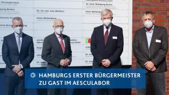 von links: Prof. C. Keck/Leiter Laborgruppe Nord amedes, Dr. P. Tschentscher/Erster Hamburger Bürgermeister, Wolf Frederic Kupatt/CEO amedes-Gruppe, Dr. Wolfgang Becker/Ärztlicher Leiter aescuLabor Hamburg