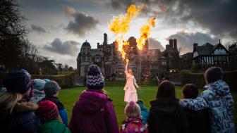 Eldshow framför slottet