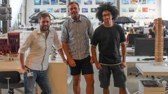 Marcus (th) sammen med Brian (tv) og Alexander fra BIG