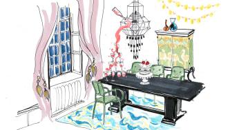 Nya designkonceptet på Näsby Slott - illustration Tengbom