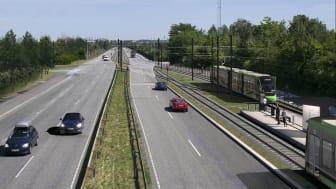Visualisering af letbanestationen Rødovre Nord ved Ring 3. Stationspladsen kommer til at ligge på den anden side af stationen.