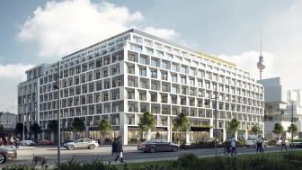Blick auf den Hotelteil des zukünftigen Alexander-Quartiers in Berlin.