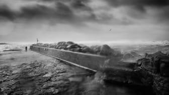 Storm i Lerhamn är ett av fotografierna i utställningen Erosion som snart visas i Ängelholm. Foto: Kristoffer Granath