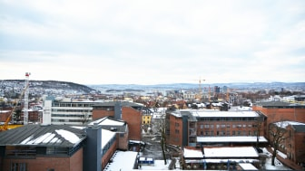 Utsikten fra kontorlokalene til Undervisningsbygg