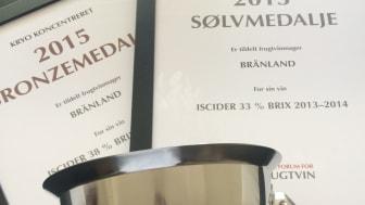 Brännland Iscider 2013, 33 Bx, vinner isvinsklassen på Dansk Fruktvinshow 2015