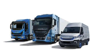 Tre av IVECO´s gasfordon. Eurocargo, Stralis  och Daily som visas på Lastbil 2018 i Jönköping.