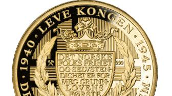 """Verdens første; Revers side av minnemedaljen Kongens nei, preget i Rettferdig """"Fairmined"""" gull"""