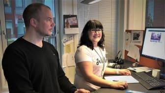 Fornøyd: - Akkurat det vi trengte, sier Victoria Wiik og Jørn Stian Dahl i Nordlandsnett. Foto: Nordlandsnett.