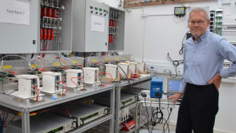Hans Aage Hjuler at the fuel cell lab at the Kvistgaard site.