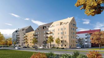 Den nya byggnaden kommer att bestå av 172 hyresrätter, en förskola och ett café och uppförs i Östra Sala backe i Uppsala kommun.