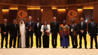 The winners of Kuwait's ​Al-Sumait Prize's health and food security categories together  with the Amir of Kuwait, His Highness Sheikh Sabah Al-Ahmad Al-Jaber Al- Sabah (third from left) and President Mbasosgo of Equatorial Guinea, (fifth from left).