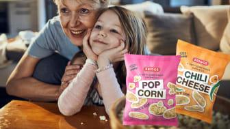 Herkulliset Friggs maissisnacksit löytyvät kahdessa maussa: ihastuttava Popcorn ja miedosti tulinen Chili-Juusto