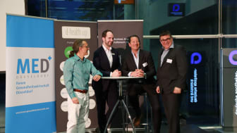 d-health.start im Universitätsklinikum in Düsseldorf: (v.l.n.r.) Thomas Saur, CEO CUREosity; Florian Leppert, apoBank; Joachim Poetsch, Vorstandsmitglied MED+; Rolf Fellmann, Vorstandsmitglied AngelEngine e.V.