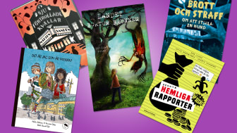 De fem böckerna som tävlar i Barnradions bokpris. Läs i sommar och lyssna på Barnradion, P4 söndagar 8.05 med start 2 oktober.