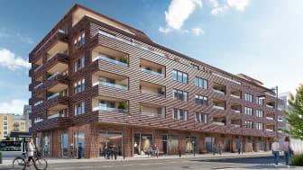 Brf Norra Station, Växjö. 3D-bild av 3D Vision Interactive Agency.