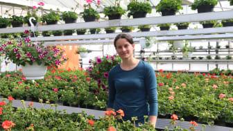 Arbeitsgruppenleiterin Steffi Cyriax freut sich, dass Kundinnen und Kunden der Hephata-Gärtnerei die Gewächshäuser wieder betreten dürfen.