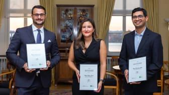 Årets pristagare. Från vänster Benjamin von Jahf (Årets Pionjär), Isabella Palmgren (Årets Unga Pionjär) och Anand Kumar Rajasekhran (Årets Nybyggare). Foto: Misak Nalbandian