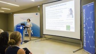 Annick Loiseau, researcher at Graphene Flagship partner CNRS, France, speaks at Women in Graphene 2018 in San Sebastian, Spain.