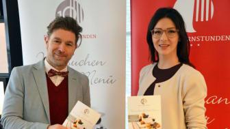 Clemens Lutz (Geschäftsführer der Kochsternstunden) und Daniela Undeutsch (Sachsens Weinkönigin) stellen die Kochsternstunden vor