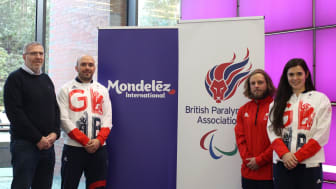 Mike Taylor, MD at Mondelēz International and athletes Sam Ingram, James Barnes-Miller and Grace Clough celebrate the extension of the partnership between the British Paralympic Association and Mondelēz  International