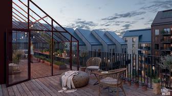 Kvarteret Daggkåpan kommer att få många ytor för social gemensakp, bland annat takterrass med växthus.