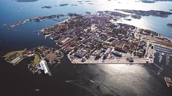 Vackra Karlskrona från skyn. Foto: HeliAir